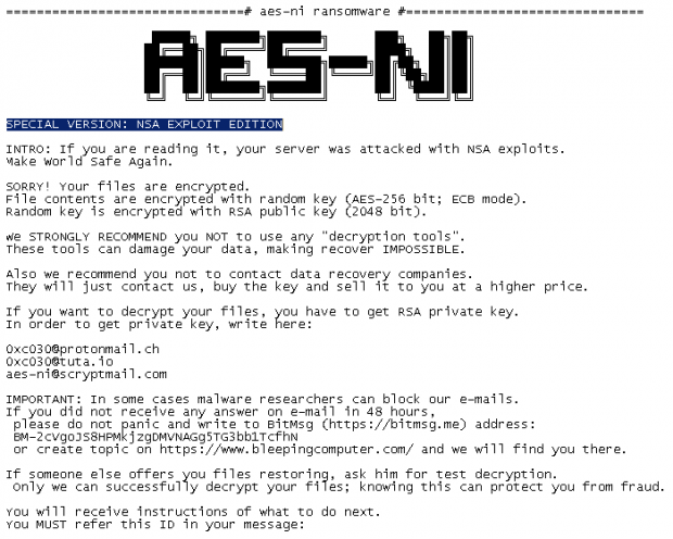 !!! READ THIS – IMPORTANT !!!.txt ransom note by AES-NI ransomware
