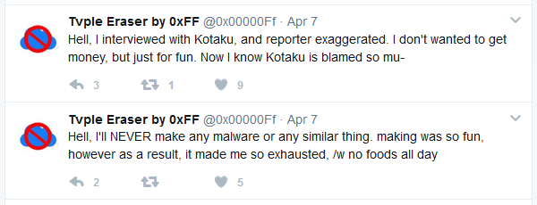 Rensenware author's tweets regarding the outcome of his controversial work