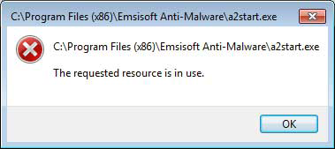'The requested resource is in use' error popup caused by SmartService Trojan