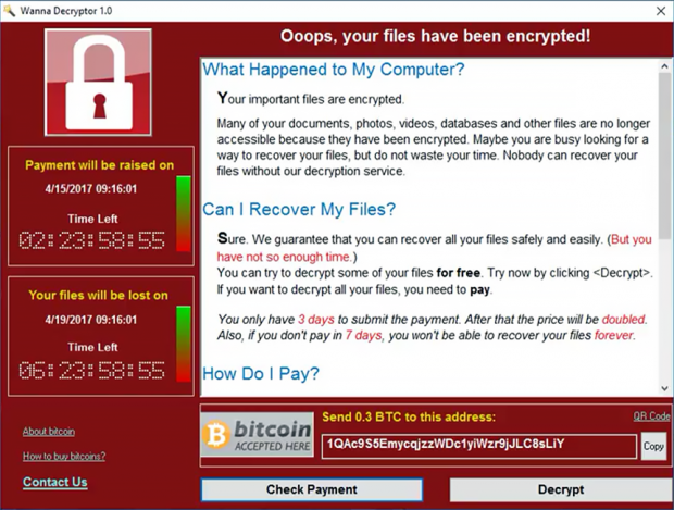 Wanna Decryptor pane displayed by Wcry ransomware
