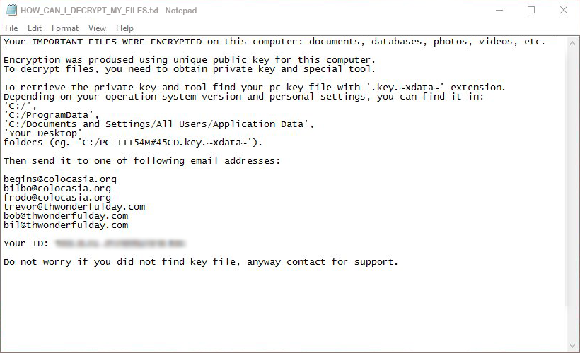 HOW_CAN_ID_DECRYPT_MY_FILES.txt ransom note by XData virus