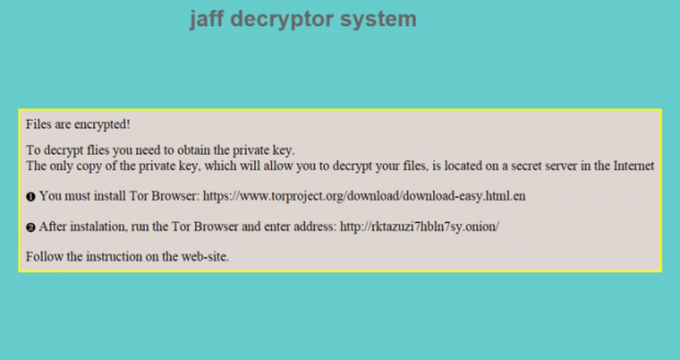 Wording of ReadMe.txt/bmp/html ransom notes dropped by the Jaff virus