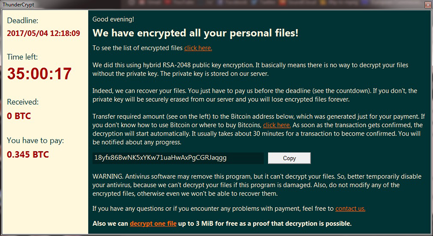 ThunderCrypt ransomware warning window