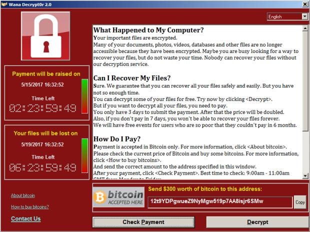 GUI of Wana Decrypt0r, current WannaCry variant