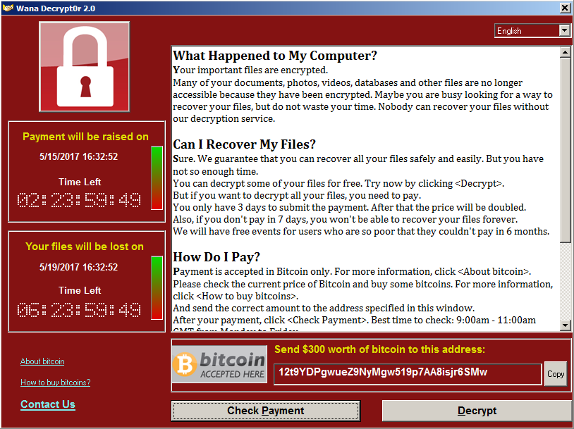 GUI of Wana Decrypt0r, current WannaCry variant