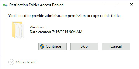 Click 'Continue' on 'Destination Folder Access Denied' dialog
