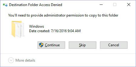 Click 'Continue' on 'Destination Folder Access Denied' dialog