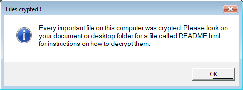 Erebus triggers this popup warning after data encryption
