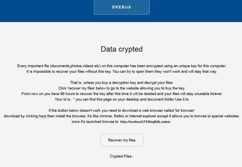 README.html note dropped by Erebus ransomware