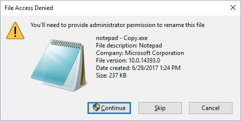 Select 'Continue' on 'File Access Denied' popup
