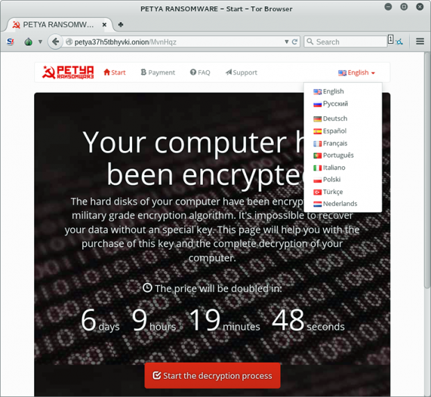 Petya decryption site containing paid recovery steps