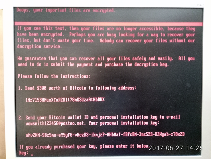 Petya ransomware warning screen