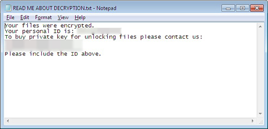 Sorebrect drops READ ME ABOUT DECRYPTION.txt ransom note