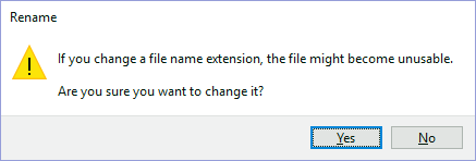 File name extension change alert