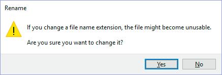 File name extension change alert