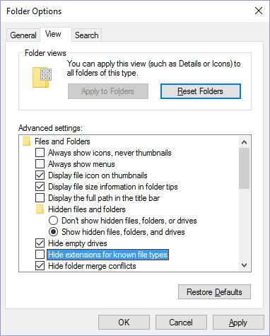 Unhide extensions for known file types