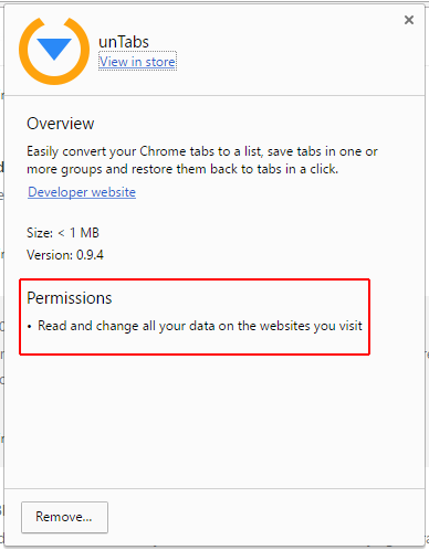 Permissions of unTabs extension