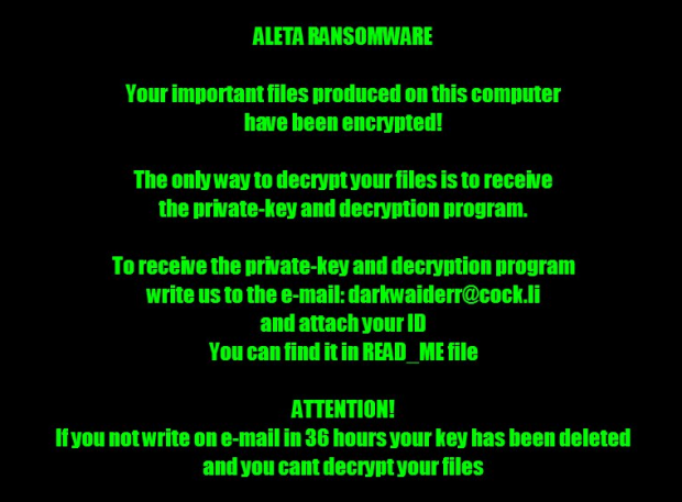 Ransom alert on the desktop generated by Aleta ransomware