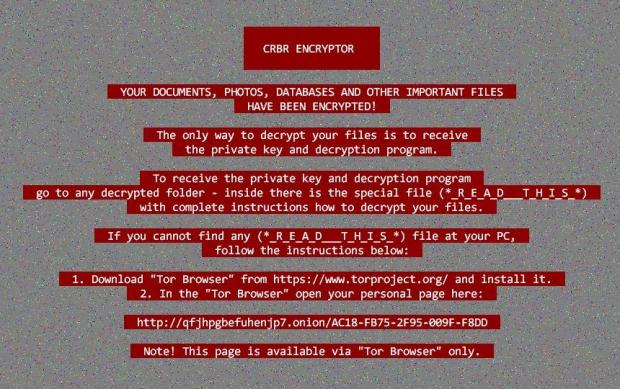 CRBR ENCRYPTOR warning wallpaper