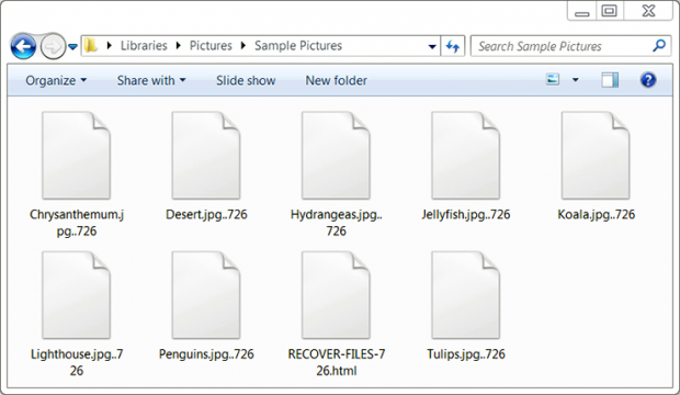 Encrypted files with .726 extension and RECOVER-FILES-726.html ransom note
