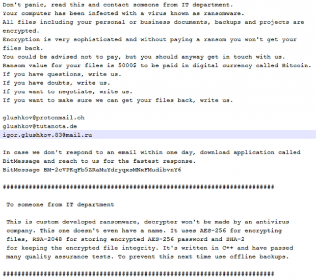 FILES.txt ransom note shown by the Defray ransomware