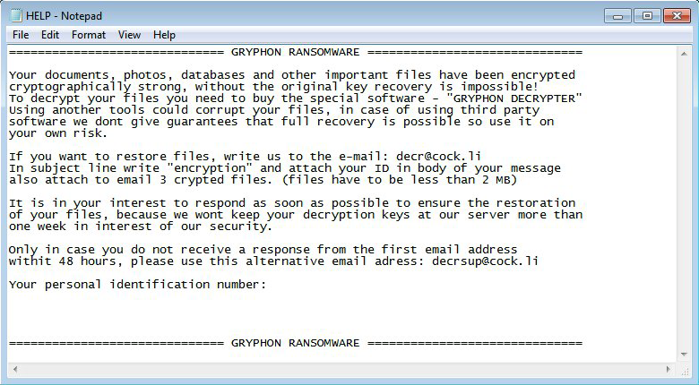 Ransom note dropped by the Gryphon ransomware