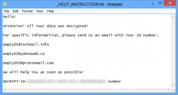 _HELP_INSTRUCTION.txt ransom note by EMPTY ransomware variant