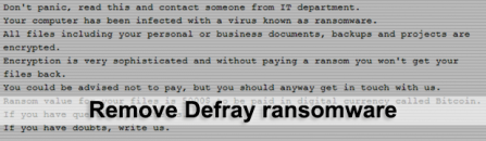 Defray ransomware removal and data decryption