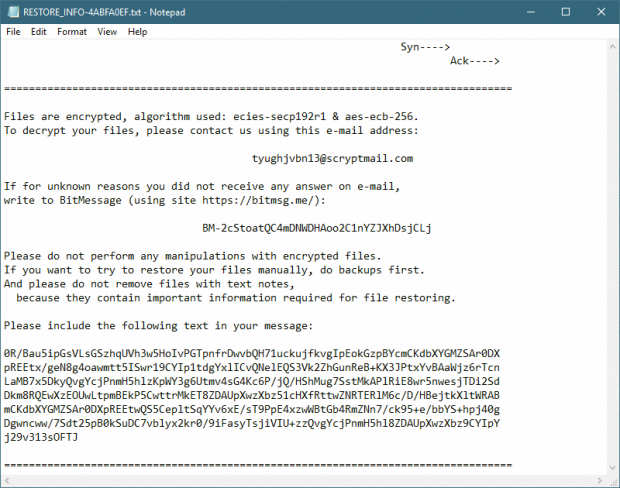 RESTORE_FILES-[victim ID].txt ransom note by SynAck virus