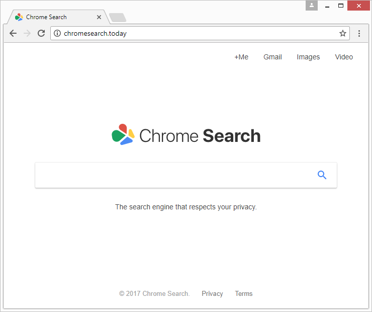The delusive homepage of chromesearch.today rogue service