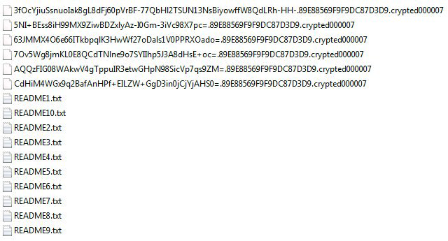 Files with the .crypted000007 extension plus README.txt ransom notes in a folder