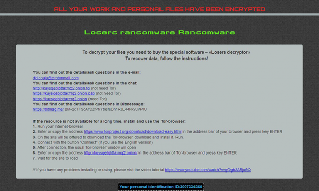 HOWTODECRYPTFILES.html note by the Losers ransomware