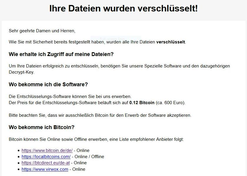 Wo_sind_meine_Dateien.html ransom note by Ordinypt virus