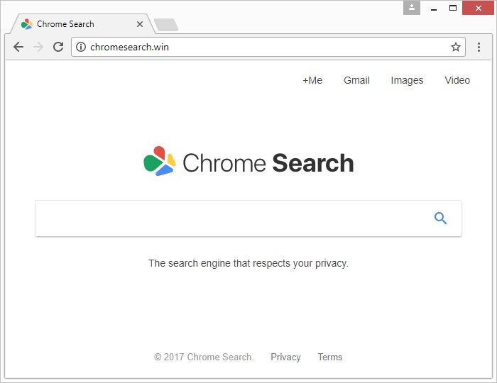 Chromesearch.win landing page shows up in an infected browser over and over