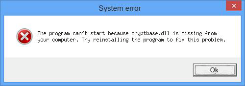 The cryptbase.dll is missing system error