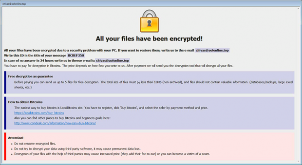 CrySiS ransomware displays HTA file with decryption guidance