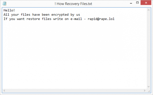 A variant of the ransom note dropped by Rapid ransomware