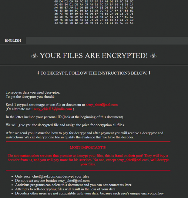 Rescue note displayed by .sexy ransomware