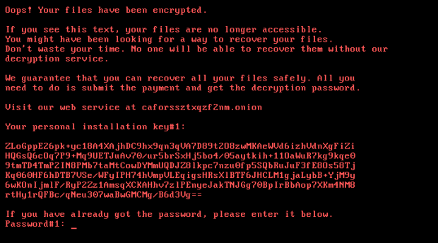 Ransom note screen displayed by Bad Rabbit ransomware