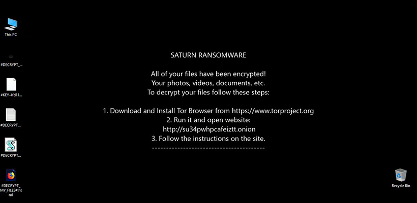 Saturn ransomware changes desktop wallpaper image