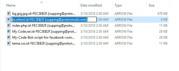Ransomware-borne .arrow files are inaccessible copies of the originals