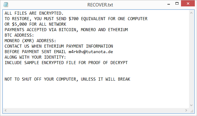 RECOVER.txt ransom note dropped by the Planetary ransomware