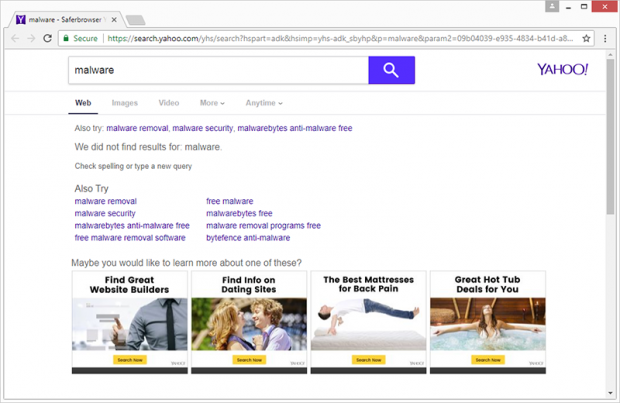 Browser redirected to search.yahoo.com