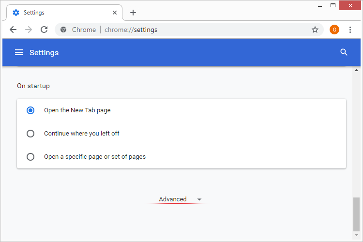Advanced settings in Chrome