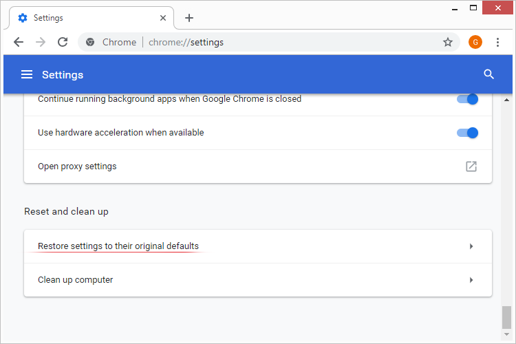 Restore Chrome settings to their original default