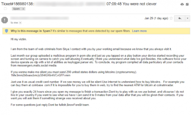Porn blackmail scam email