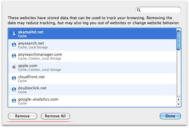 Removing data for selected sites in Safari