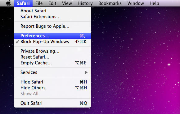 Go to Safari Preferences