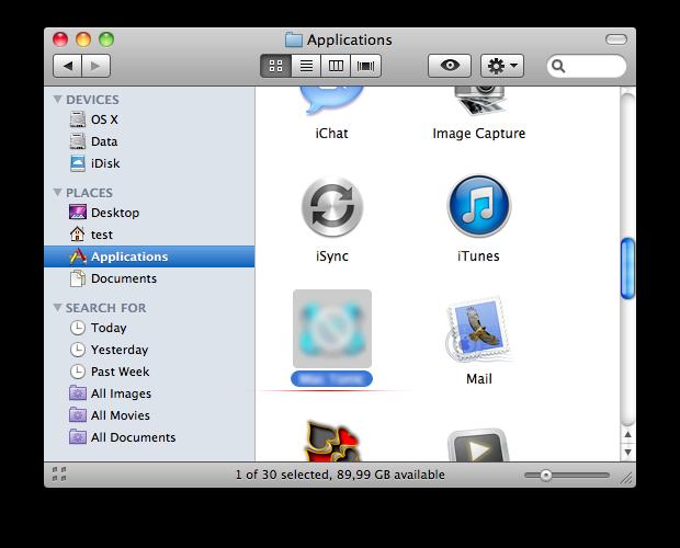 Applications list in Mac