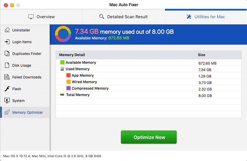 Mac Auto Fixer virus overstates the amount of used memory to scare the victim